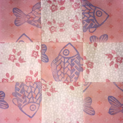 Example of quilting using fabric from reprint and repurpose.