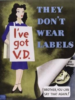 L0038324 A woman wearing a sandwich-board inscribed 'I've got