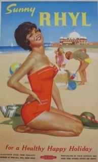 Original Railway Poster Sunny Rhyl For A Healthy Happy Holiday Leonard