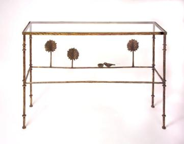 Giacometti Style Console Trees with Bird Dish
