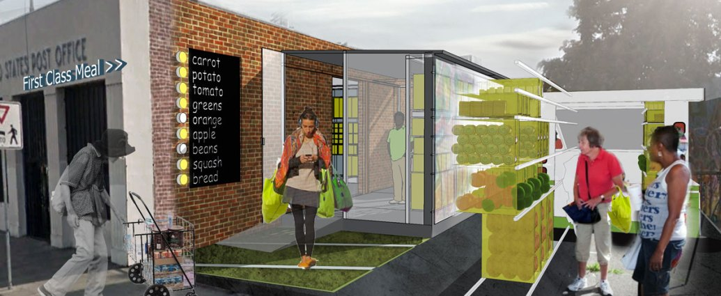 First Class Meal aims to repurpose closed US Postal Service buildings by using the buildings, services, and systems to address urban food insecurity.