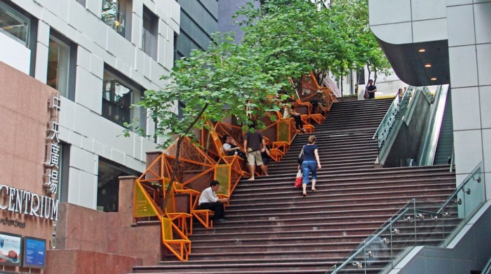 The Cascade, Hong Kong: A Central Business District Stairway that now doubles as a mini urban park.