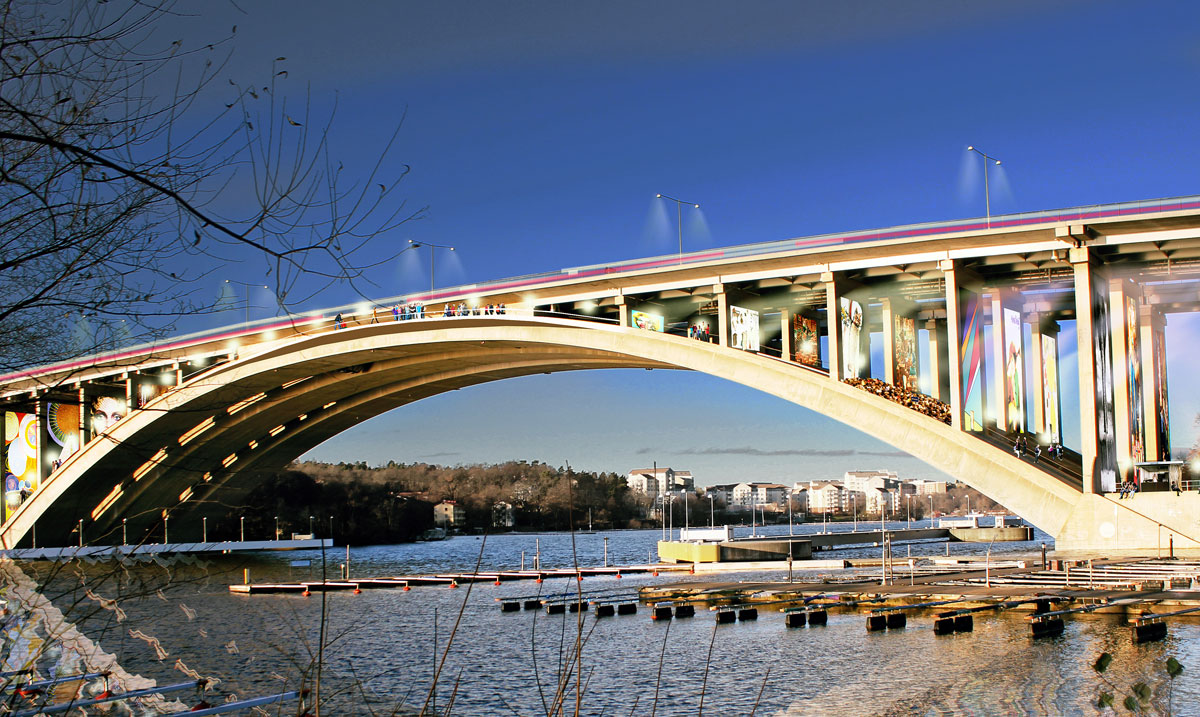 Swedish Firm Vision Division's Idea to Transform Stockholm's Tranebergssund bridge into a film festival site.