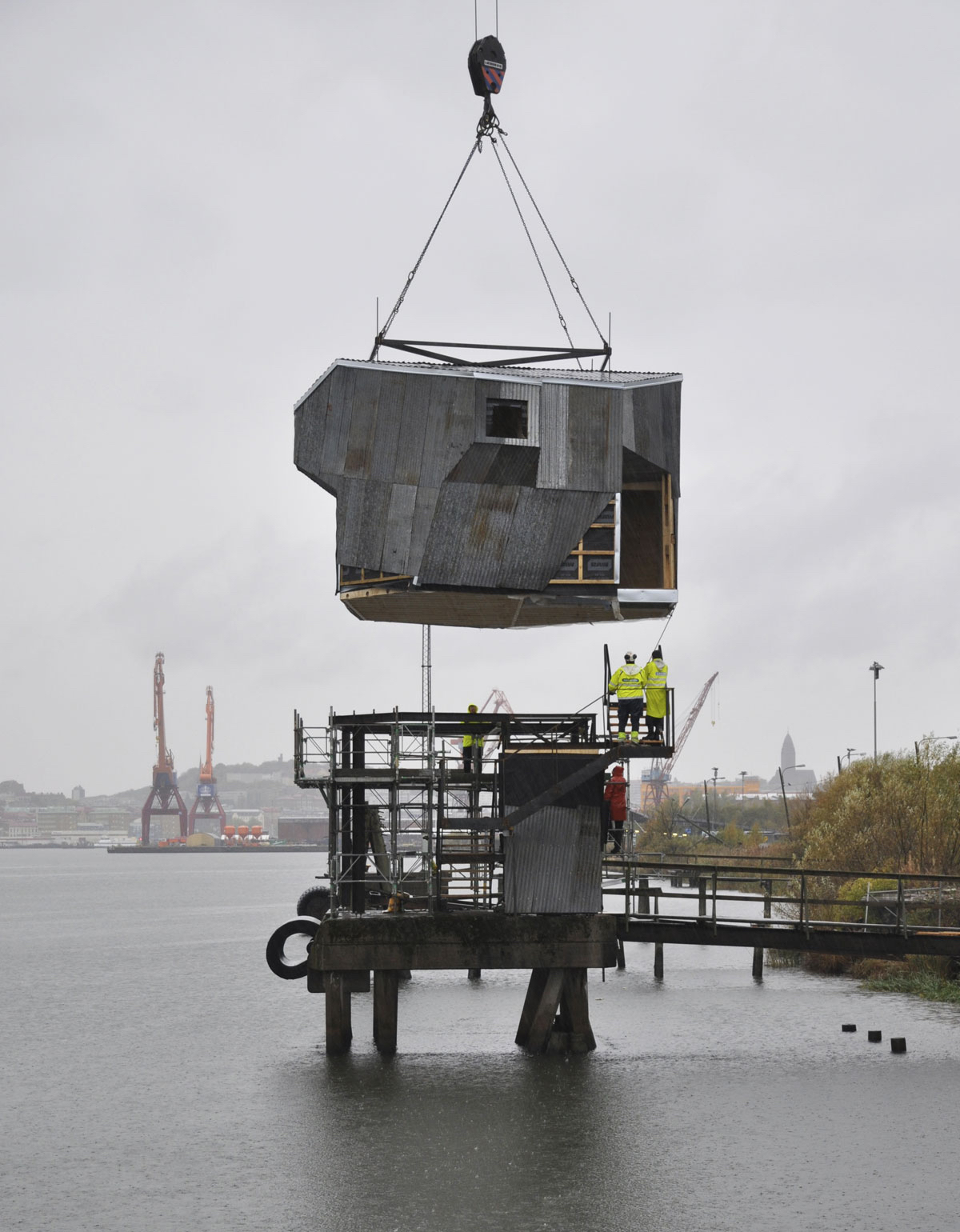 New Use for Shipping Infrastructure: Public Sauna in Göteborg, Sweden by Raumlaborberlin