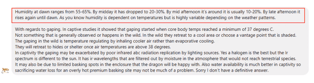 response from Dr. Jonathan Howard about bearded dragon humidity