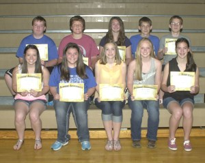 R-T Photo/Seth Herrold The Top 10 academic eighth graders at Trenton Middle School for the 2013-2014 school year were, from left, front row, Jayden Roeder, Peyton Stith, Rosella Leininger, Hannah Persell, Claire Utley; back row, Kade Ockenfels, Lathan Croy, Alyssa Kosse, Jacob Roy and Tanner Franklin.