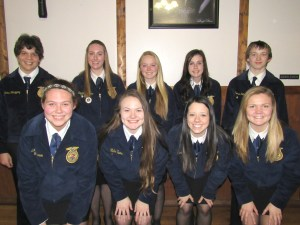 Submitted Photo  Nine members of the Trenton FFA Chapter participated in the Northwest District LDE contest in Cameron on March 22. Laura Carlson participated in creed speaking, placing first and advancing to state. The FFA Knowledge Team, consisting of Latorrie Johnson, Adreanna Gard, Tommy Johnston and Melea Farmer, placed second, also advancing to state competition. Jayden Roeder competed in Division II public speaking and was selected as the district alternate to state. District participants were, from left, front row, Latorrie Johnson, Melea Farmer, Jayden Roeder and Laura Carlson; back row, Nick Velazquez, division I speaking; Elizabeth Leeper, job interview; Hannah Persell, advanced division speaking; Adreanna Gard and Tommy Johnston. Kabel Oaks and Brook Kreatz are the THS FFA advisors.