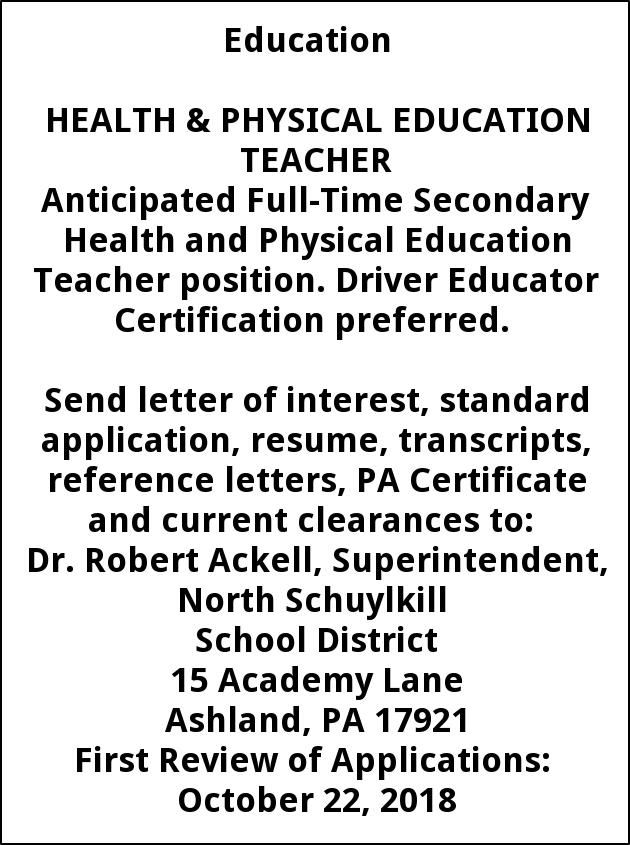 Health and Physical Education Teacher , North Schuylkill