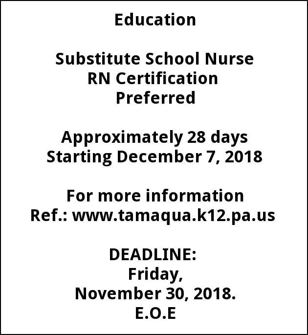 Substitute School Nurse, Tamaqua Area School District