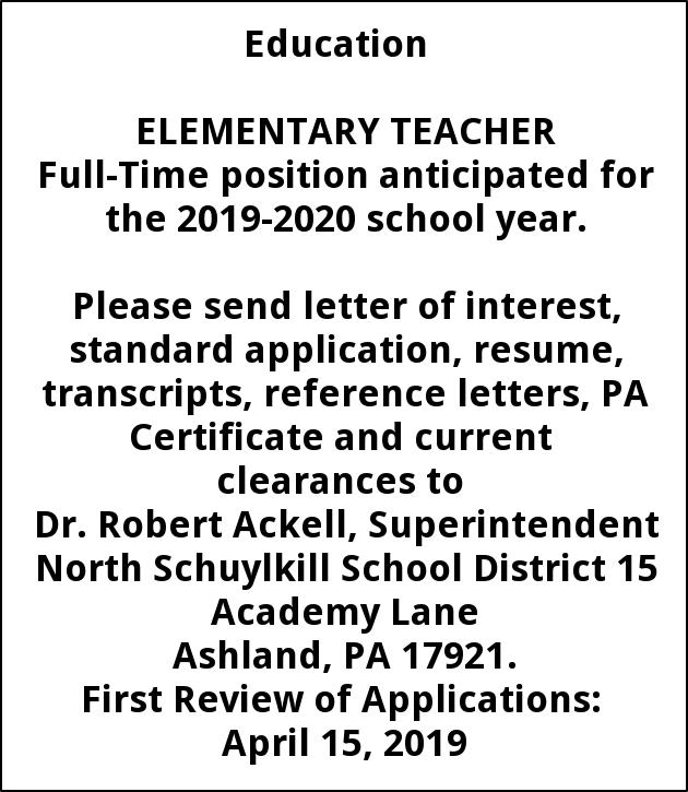ELEMENTARY TEACHER, North Schuylkill School, Ashland, PA