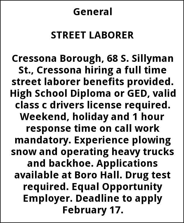 Street Laborer Needed, Cressona Borough