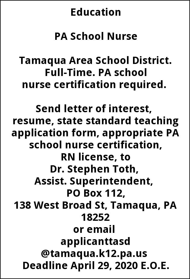 PA School Nurse, Tamaqua Area School District, Tamaqua, PA