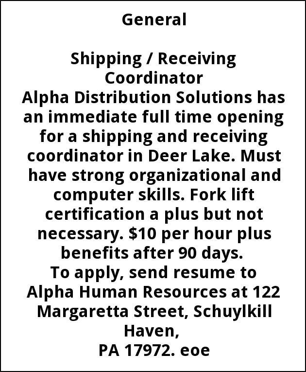 Shipping / Receiving Coordinator, Alpha Mills, Port Carbon, PA