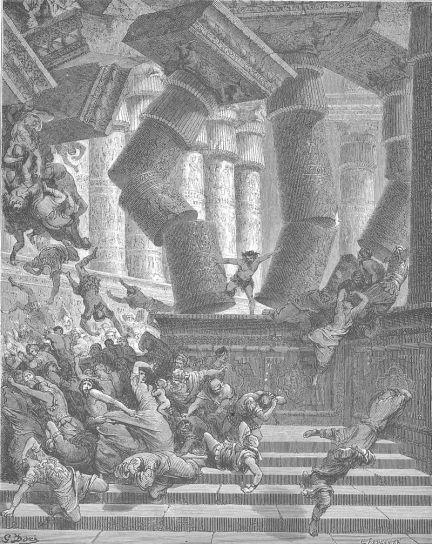 Samson Philistines Pillars