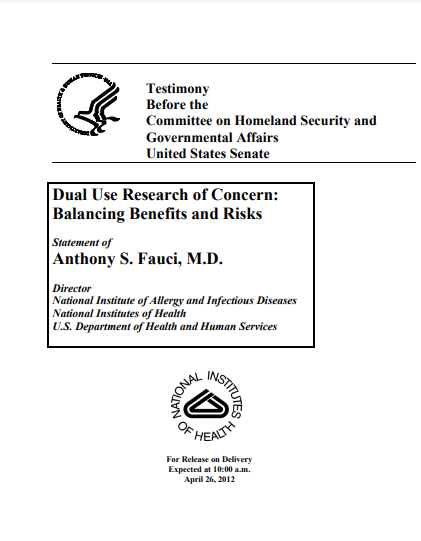 Fauci Told US Senate in 2012 Benefits of Risky Research Outweighed Potential 'Accidental Release' – RedState