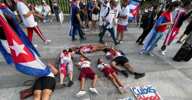 Cuba Protesters Stage Die-In Outside White House