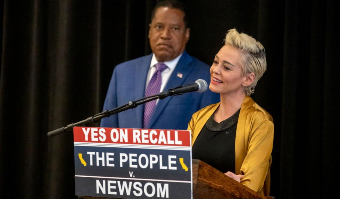 Rose McGowan Rips Media, Black Lives Matter In Larry Elder Endorsement: 'He Might Just Know More Than You Living In A Different Skin'