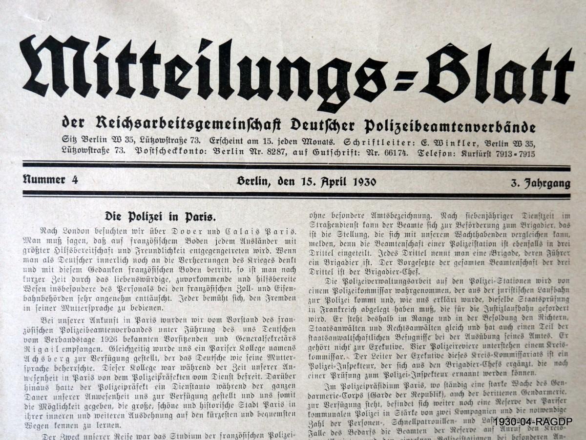 Mitteilungsblatt der Reichsarbeitsgemeinschaft Deutscher Polizeibeamtenverbände aus der Weimarer Republik (1930)