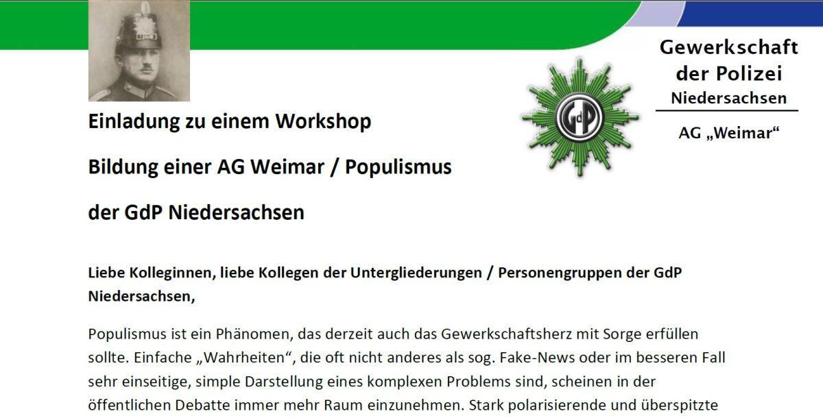 GdP Niedersachsen sucht Teilnehmer für eine Arbeitsgruppe Gewerkschafter/Polizei in der Weimarer Republik
