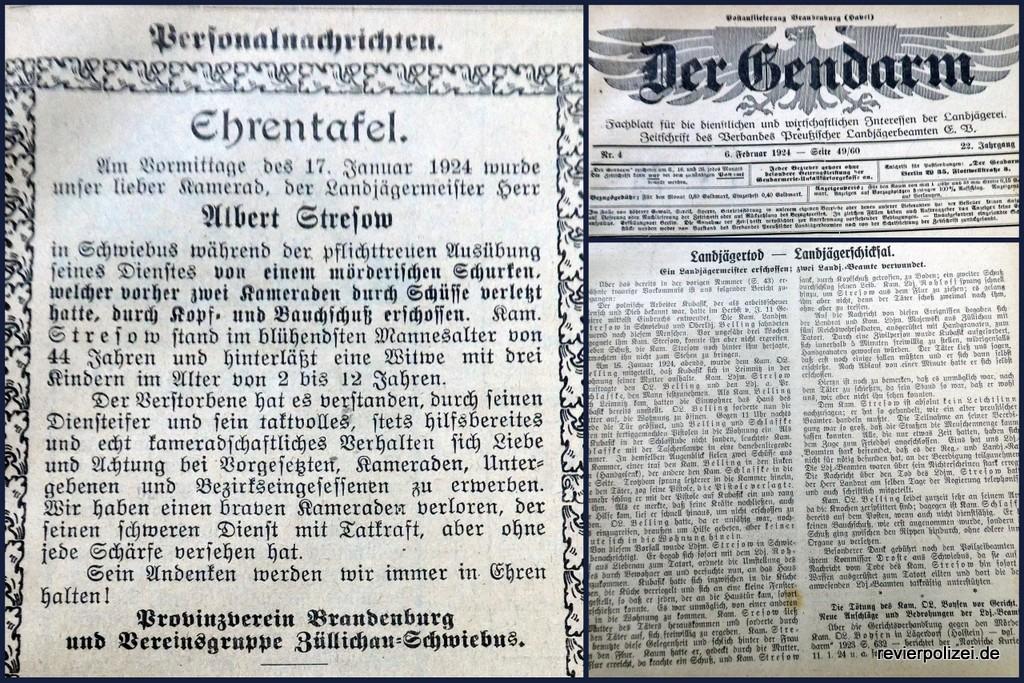 Ehrentafel Albert Stresow – Landjägertot