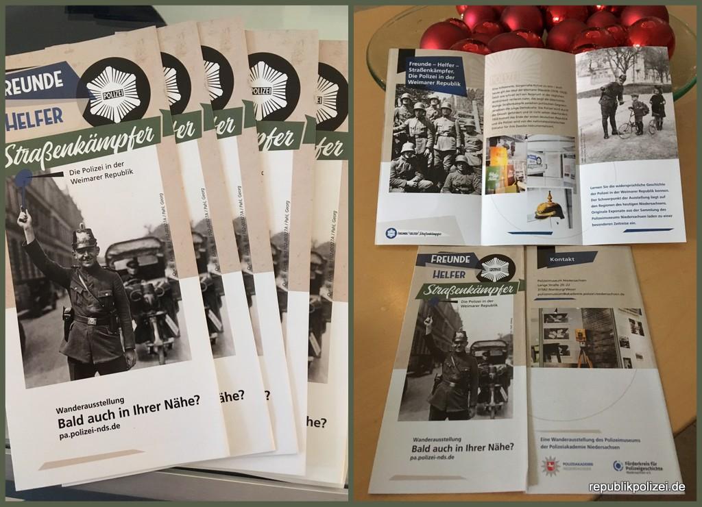"""Flyer zur Ausstellung """"Freunde, Helfer, Straßenkämpfer"""" der Polizeiakademie Niedersachsen"""
