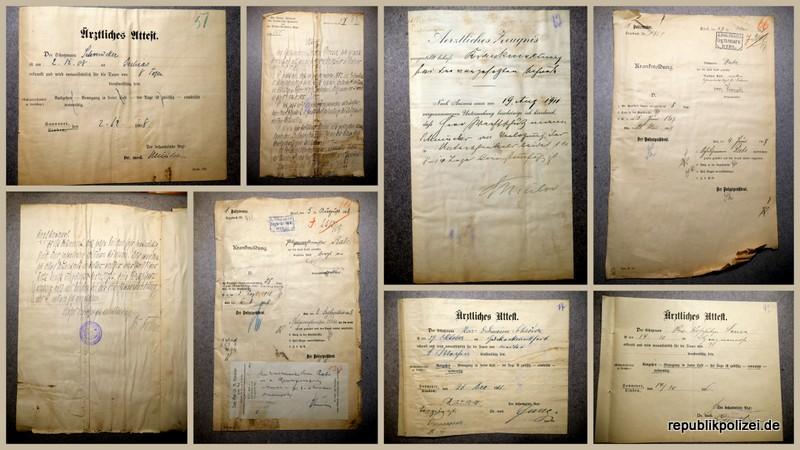 Krankenformulare aus dem  Kaiserreich/Weimar