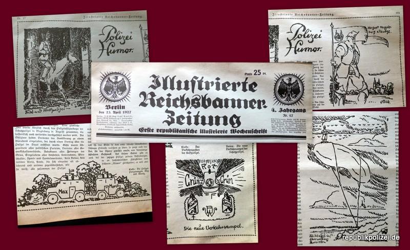 """""""Polizei und Humor"""" Zeitungsbericht IRZ (illust. Reichsbanner Zeitung) vom 23.04.1927"""