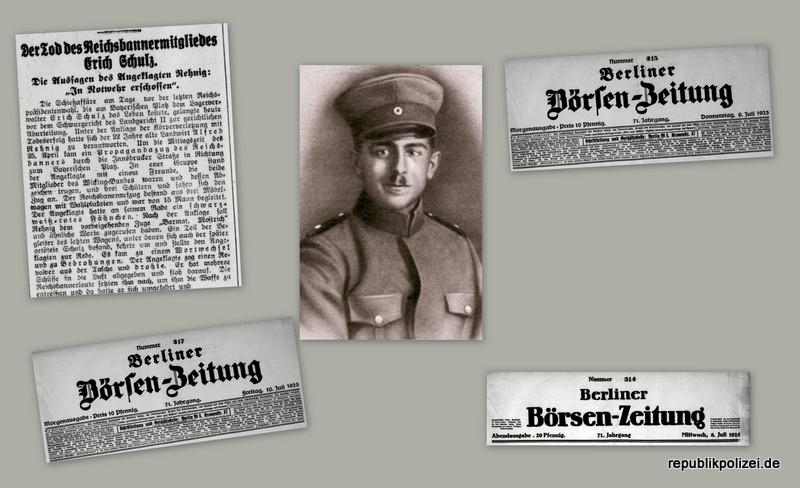 Berliner Börsenzeitung Zeitungsmeldungen zum Todesfall des Reichsbannermann Erich Schulz, Berlin, 26.04.1925