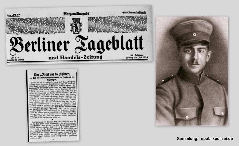 Berliner Tageblatt Zeitungsmeldung zum Todesfall des Reichsbannermann Erich Schulz, Berlin, 26.04.1925