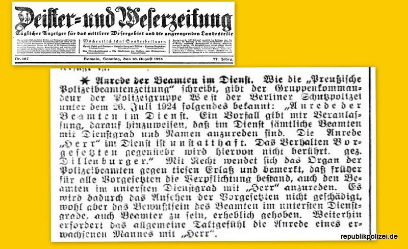 1924: Anrede der Beamten im Dienst.