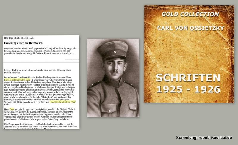 Carl von Ossietzky Tagebuchmeldung zum Gerichtsverfahren über den Tod des Reichsbannermann Erich Schulz, Berlin, 26.04.1925
