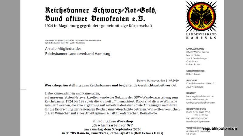"""Einladung zu eine Workshop über """"Geschichtsarbeit vor Ort"""" zum  Reichsbanner Schwarz-Rot-Gold. Hameln – 5. Sept. 2020."""