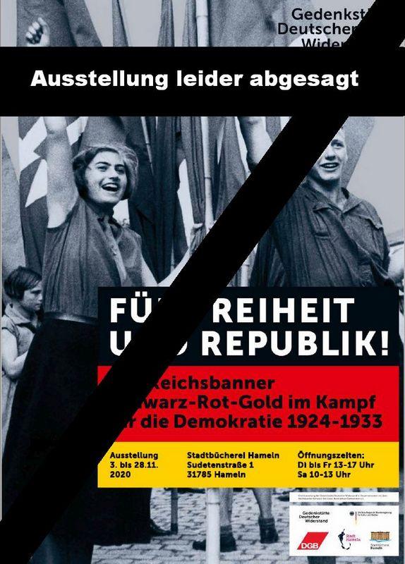 Reichsbannerausstellung in der Stadtbücherei Hameln wird auf 2021 verschoben.