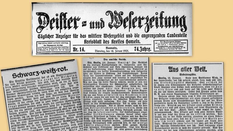 Nachrichtenmeldungen vom 18.01.1921 – Flaggenstreit – Polizeieinsatz – Tragödie