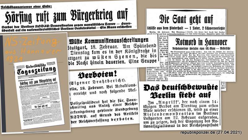 """""""Hörsing ruft zum Bürgerkrieg auf."""" NTZ Hannover vom 19.02.1931."""