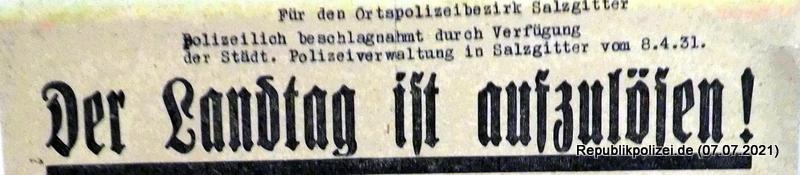Spannendes (beschlagnahmtes) Flugblatt vom 08.03.1931 in Salzgitter