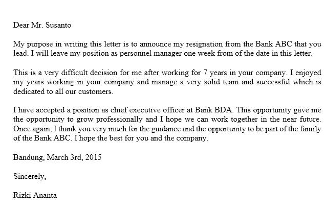 15 Contoh Surat Pengunduran Diri Resign Kerja Republik Seo