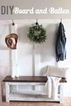 DIY Board and Batten for a modern farmhouse mudroom