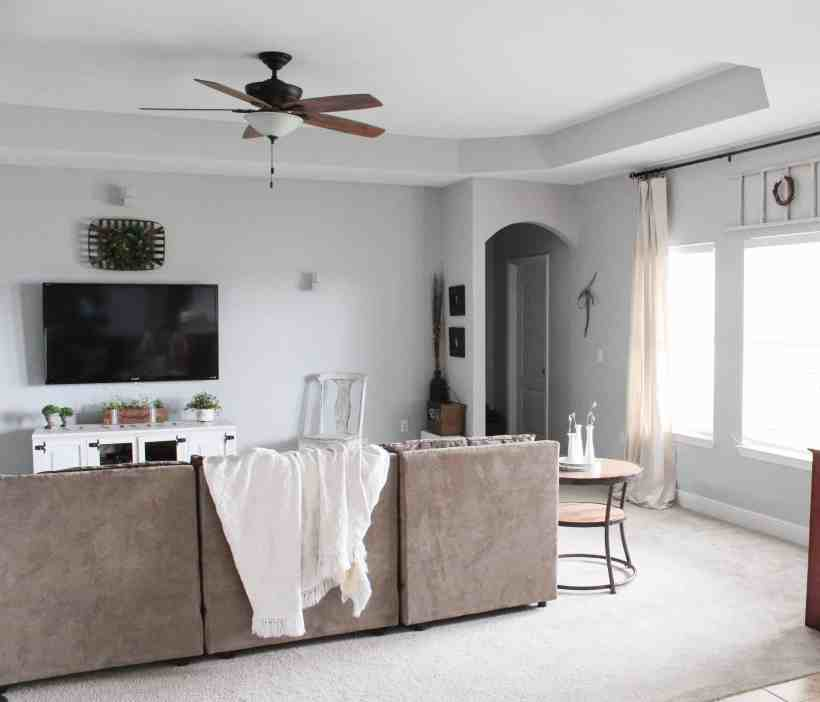 10 Modern Farmhouse Living Room Ideas: Modern Farmhouse Living Room Refresh With DIY Drop Cloth