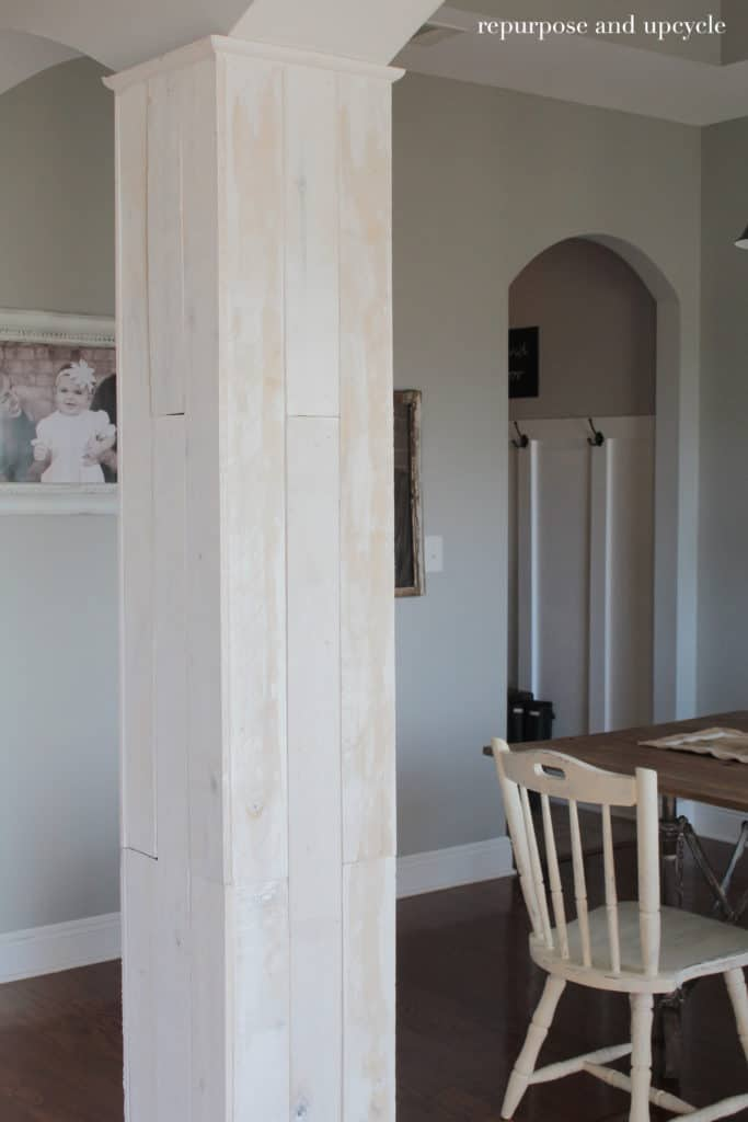Installing Wood Planks to Our Dining Room Column and Side