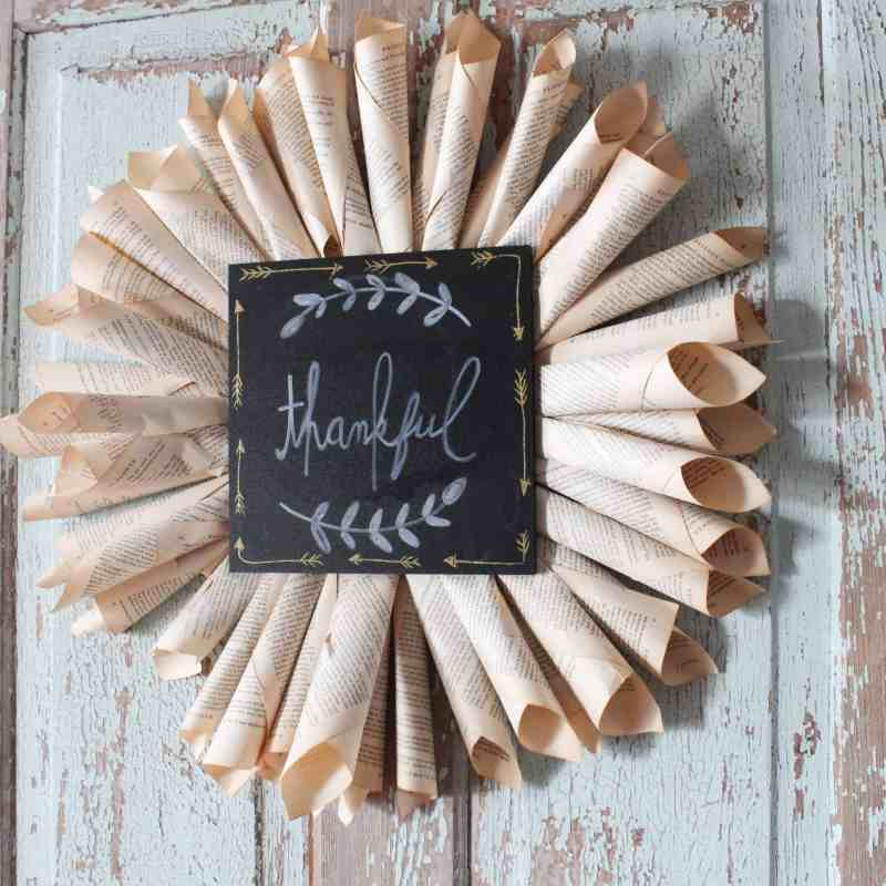 DIY Book Page Wreath with a custom sign
