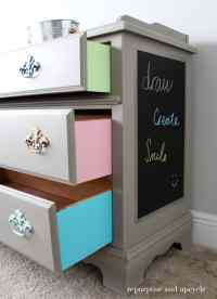 Colorful Furniture Makeover with Adhesive Vinyl Chalkboard ...