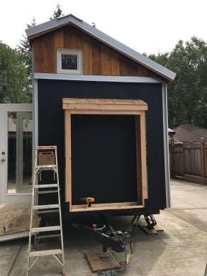 The front shed waiting for a roof.