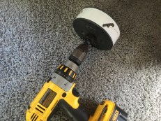 """A 6"""" in circular drill blade to cut a big hole in the wall."""