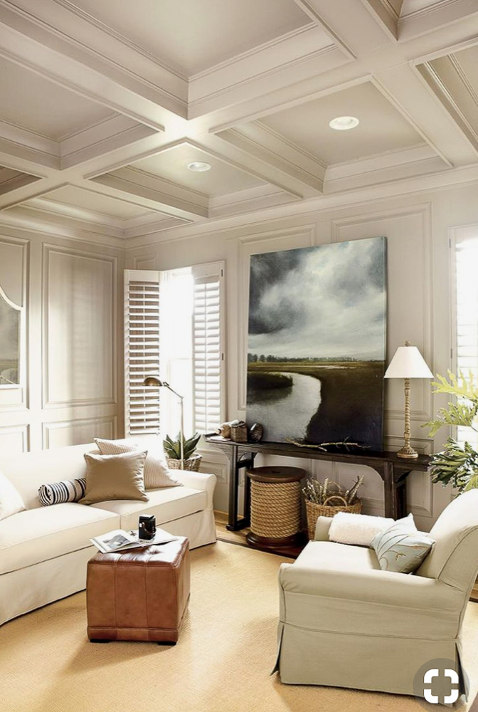 Coffered ceiling in a family room