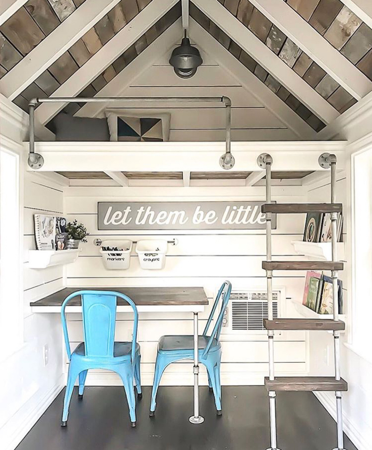 Playhouse with car siding ceiling and shiplap walls