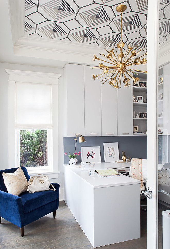 Wallpaper ceiling in a modern decor office