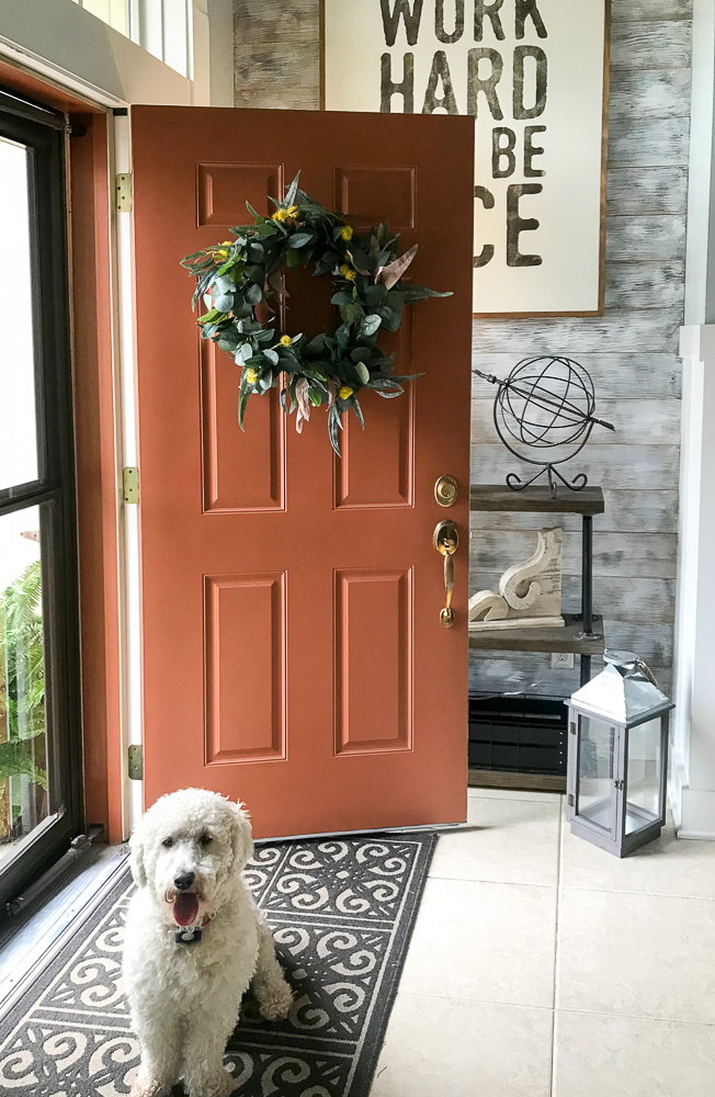 orange door with magnolia wreathe and cute white dog