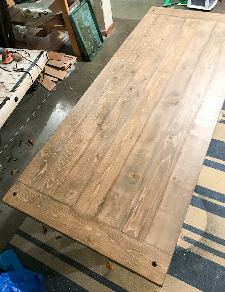 washers added to top of table