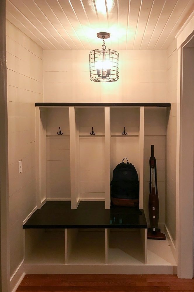 mudroom with industrial light